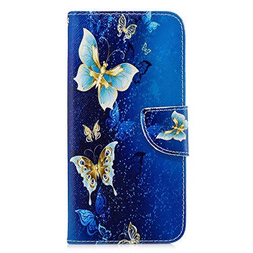 Kompatibel mit Samsung Galaxy S20 Hülle Leder Handyhülle Flip Case PU Tasche Wallet Schutzhülle Bookstyle Ständer Kartensätze Magnetisch Handytasche für Samsung Galaxy S20 blauer Schmetterling