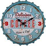 Retro Beer Cover Style Wall Clock Industrial Country Style 12 Inch Battery Powered Quartz Wall Clock Suitable for Office, School, Living Room, Kitchen Wall Clock (Blue,12 Inch)