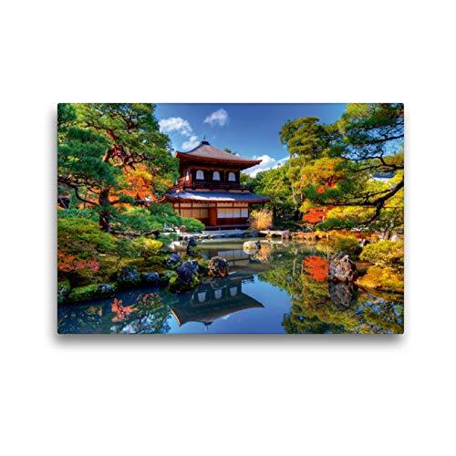 CALVENDO Premium Textil-Leinwand 45 x 30 cm Quer-Format Ginkaku-ji Temple in Kyoto, Leinwanddruck von Elisabeth Stanzer