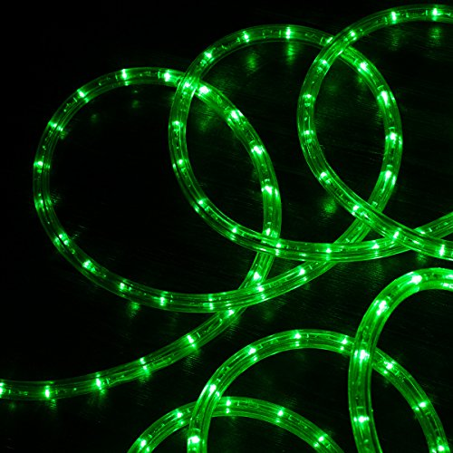 West Ivory 3/8' (25' feet) Green LED Rope Lights 2 Wire Accent Holiday Christmas Party Decoration Lighting (10', 20', 25', 50', 150' ft Option)| ETL Certified
