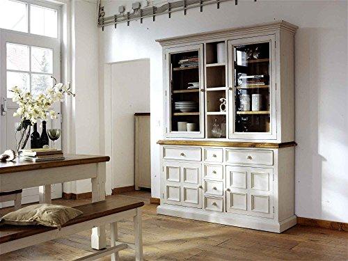 lifestyle4living Buffet, Buffetschrank, Landhaus, Anrichte, Esszimmerschrank, Esszimmervitrine, Küchenschrank, Vitrinenschrank, Landhausstil, weiß, honigfarben,