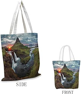 Travel Bag, Machine Washable Apartment Decor Waterfall Landscape at Iceland Sunset Mountain Volcanic Area Natural Beauty Nobody Isolated, 16.5