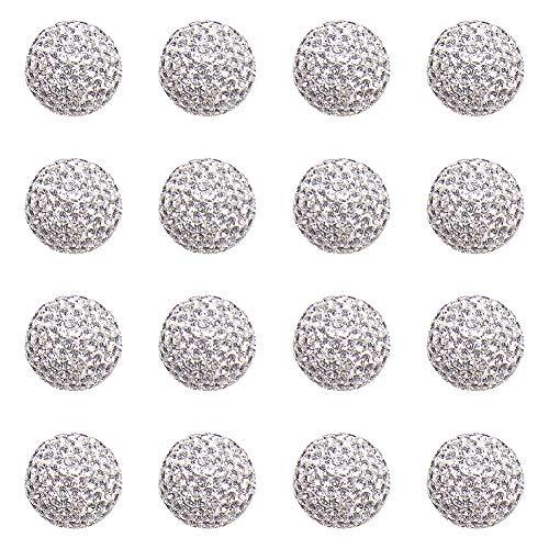 PH PandaHall 20pcs 16mm Grade A Crystal Rhinestone Shamballa Beads Pave Disco Ball Clay Beads Clay Rhinestone Beads for Jewelry Making