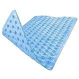 BAMONDO Badewannenmatte Natura Hautsensitiv - Badewanneneinlage 100x40 cm rutschfest für Kinder und Baby - Duschmatte Antirutschmatte (blau transparent)