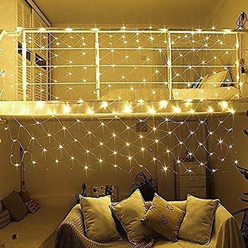 Net Light Fishing Net Decoration Outdoor LED Net Light Garden Decorative Waterproof Suitable For Christmas Mall Decoration(Color:Warm White)