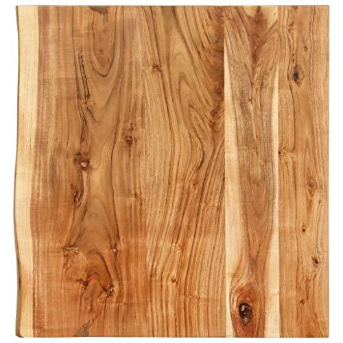 vidaXL Akazienholz Massiv Waschtischplatte Badezimmer Waschtisch Waschtischkonsole Platte Holzplatte für Aufsatzbecken Badmöbel Baumkante 60x55x3,8cm