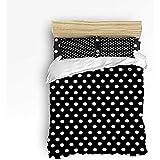 N/A 3-teiliges Bettwäscheset, weiße Gepunktete Bettdecke für Kinder/Kinder/Jugendliche/Erwachsene, Schwarze Königin, Größe 86 'x 70'