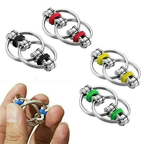 ZYANUGR 5Pcs Chain Fidget Toy, Hand Spinner Fidget Bicicleta Cadena Cross Key Ring Focus Metal Finger Toys, Bike Chain Keychain para Adultos Niños
