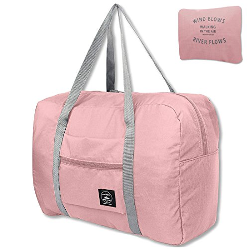 Unova Folding Travel Duffel Bag Packable Light Nylon Water Resistant Tote Weekend Getaway Overnight Carry-on Shoulder (Pink)