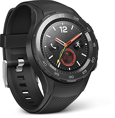 HUAWEI 55021666 Smartwatch 2 (4G/LTE, 4GB ROM, Android Wear, Bluetooth, WiFi) Carbon schwarz Sport Strap Carbon Black Sport Strap