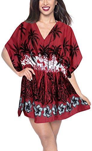 LA LEELA Kimono Blusa Bikini Traje de baño Traje de baño Desgaste de presentación Breve en Blood Rojo
