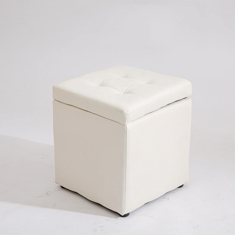 Creative Square Leather Stool, Modern Minimalist Style Study Room Living Room Bedroom Stool, Storage Stool, shoes Bench, Small Stool, Sofa Coffee Table Sitting Stool, 30  35cm