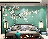 Papel Tapiz Mural 3D Personalizado,Chino Clásico Pintado A Mano Magnolia Flores Y Aves Fondo, 3D Estéreo Gran Pared De Pintura Pared Que Cubre La Sala De Estar Moderna Dormitorio Tv Fondo Decoraci