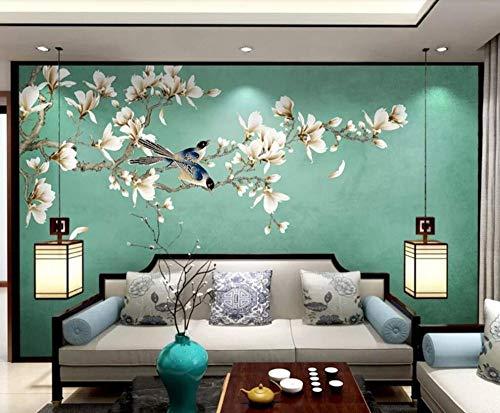 Papel Tapiz Mural 3D Personalizado,Chino Clásico Pintado A Mano Magnolia Flores Y Aves Fondo, 3D Estéreo Gran Pared De...