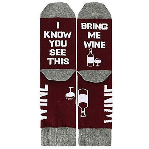 VJGOAL Unisex moda casual creativo divertido pie impresión de la letra calcetines calcetines de tubo medio