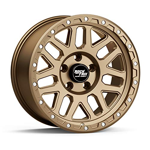 RockTrix RT110 17 inch Wheel Compatible with Jeep Wrangler JK JL 5x5 Bolt Pattern 17x9 (-12mm Offset, 4.5in Backspace) 71.5mm Bore, Bronze, Also fits Gladiator JT - 1pc