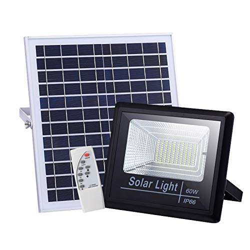 ZHANG 200W LED Outdoor Solar Flood Light Street Security Wall Floodlight Dusk To Dawn Remote Control Timer Color Temperature IP67 Waterproof for Patio Yard Pathway Garden Walkway Garage,60W