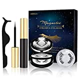 Magnetic Eyeliner and Lashes, 3 Pairs Reusable Magnetic Eyelashes with Makeup mirror and Tweezers kit, Natural Look & No Glue Needed Magnetic Eyelashes