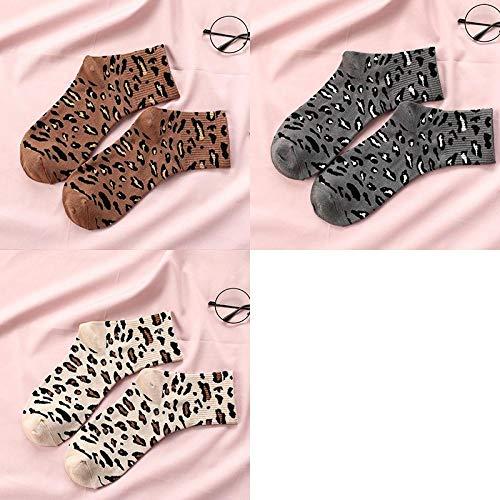 JINGYINYI Mid kousen, dames, luipaardprints, sokken, katoenen sokken, straat, donkergrijs, volwassenen, voetbalschoenen, warm, lang, drie paren@A9