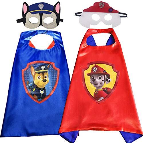Miotlsy Paw Dog Patrol Kinderkostüm Set Cartoon Umhang und Maske Paw Dog Patrol Cosplay Kostüme Halloween DIY Umhang Halloween Karnevalskostüm Spielzeug & Geschenke für Kinder