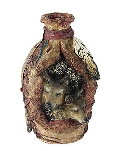 Westernranch Dekofigur Blumenvase Vase Wölfe Feder Lederoptik