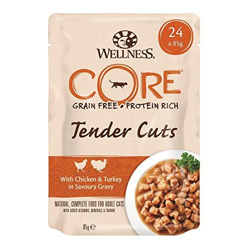Wellness CORE Tender Cuts / Katzenfutter Nass / Getreidefrei / Hoher Fleischanteil / Hühnchen & Pute in Soße, 24 x 85 g Pouches