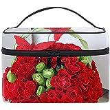化粧ポーチ 機能的 大容量 オシャレ 祝い プレゼント ギフトポインセチアの花明るい赤