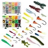 LEAMALLS 301 Piezas Señuelos Pesca Artificial Cebos para Anzuelos Pesca, Cucharillas Pesca Accesorios Aparejos De Pesca para la Pesca Ganchos