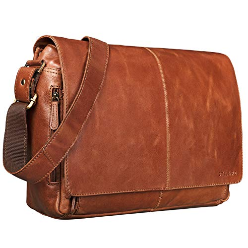 STILORD 'Alex' Vintage Leer Schoudertas Mannen Vrouwen Groote Businesstas 15,6 Inch Laptoptas Aktetas Universiteitstas, Kleur:cognac - glimmend
