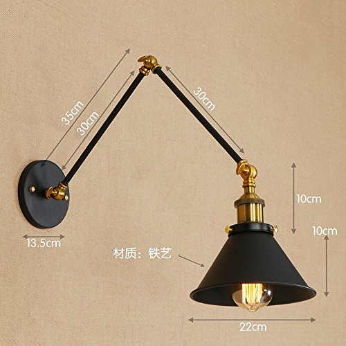 Rétro personnalité noire en fer forgé longue lampe de chevet tête de bras, longueur de bras 30 +30 cm