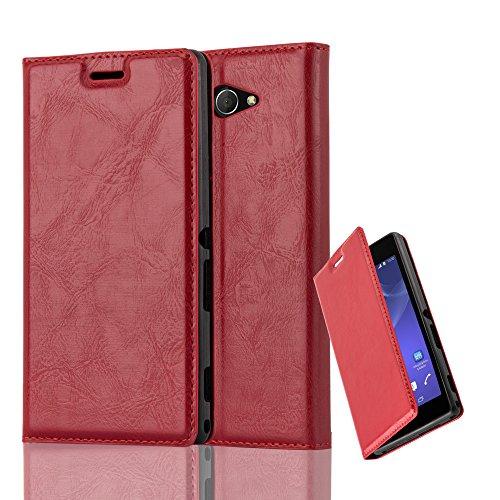 Cadorabo Hülle für Sony Xperia M2 Aqua in Apfel ROT - Handyhülle mit Magnetverschluss, Standfunktion & Kartenfach - Hülle Cover Schutzhülle Etui Tasche Book Klapp Style