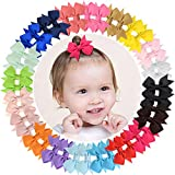 ALinmo 40pcs Baby Girls Clips 2' Grosgrain Boutique Solid Color Ribbon Mini Hair Bows Clips for Baby...