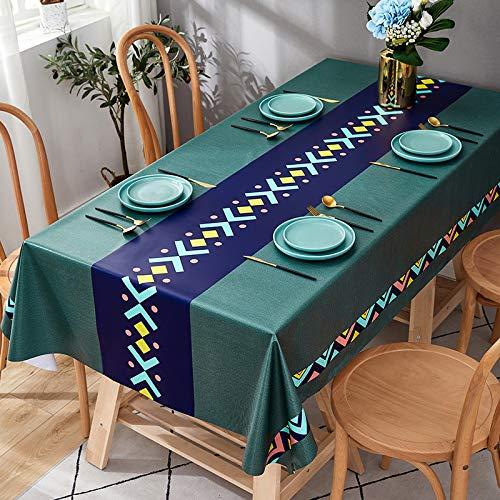 Mantel redondo bordado decoración elegante de lino de algodón con bordes, a prueba de polvo, lavable para mesa de comedor 90 x 135 cm