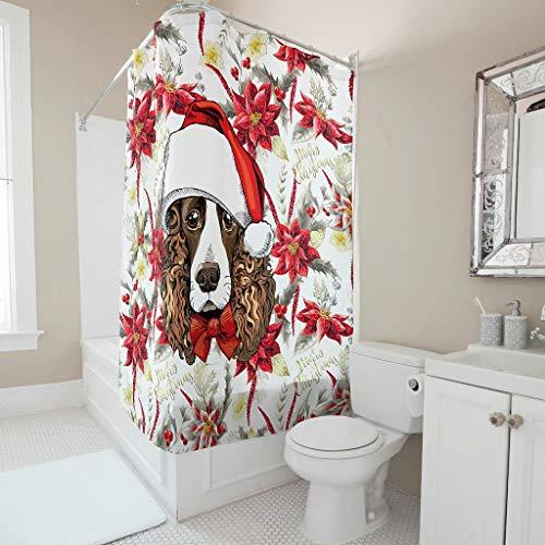 O2ECH-8 Douchegordijn met persoonlijkheidspatroon Kerstmis Animal Happy Design schimmelbestendig badgordijn nieuwjaarsgeschenk modern voor badkuip -