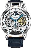 Stuhrling Orignal, orologio da uomo automatico, con scheletro e cinturino in pelle, orologio da polso orologio meccanico, cassa in acciaio inox, a carica automatica, analogico, da uomo