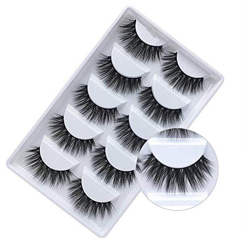 False Eyelashes, 3D Faux Mink False Lashes Reusable Handmade Natural Thick Fake Eyelashes for Makeup Eyelashes Extension,5 Pairs Hand-made Soft Dramatic Fake Eye Lashes (F810)