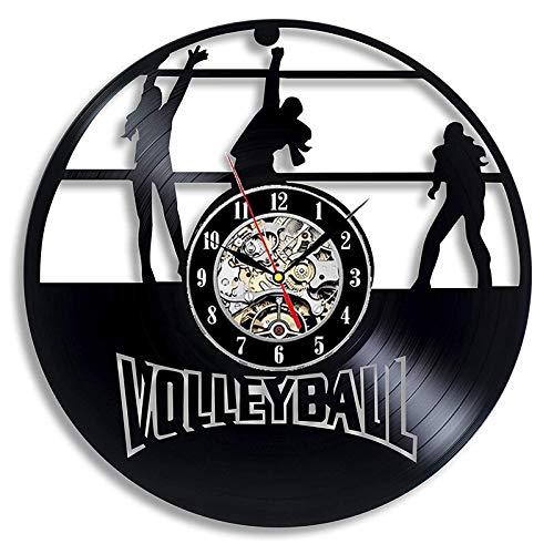 WERWN Regalo Retro de la decoración del Voleibol 3D del Reloj de Pared del Vinilo del diseño Moderno