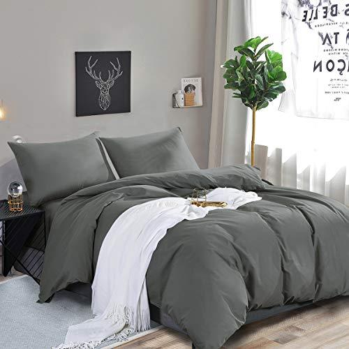 RUIKASI Deckenbezug 135x200 Anthrazit, Weiche Mikrofaser Bettwäsche, Anti Milben und Allergiker Bettbezug 135x200 cm