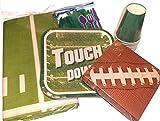 Fußball-Spiel Party Supplies – Touchdown-Teller, Fußball-Servietten, Kunststoff, Silberwaren, Becher und Papier Fußballfeld-Tischdecke