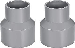sourcing map Acoplamiento reductor de PVC de cubo por cubo de 75mm x 50mm Adaptador de tubería DWV Gris 2uds
