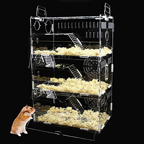 NXL Jaula Hamster 3 Capas Magnífico Jaula del Animal Doméstico Hámster Jaula De Acrílico Transparente Castillo De Viaje,para Mascotas Jaula Hamster