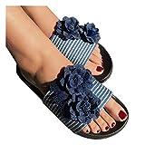 haoricu Womens Bohemian Denim Flowers Flats Summer Casual Party Dress Slipper Ladies Sandals