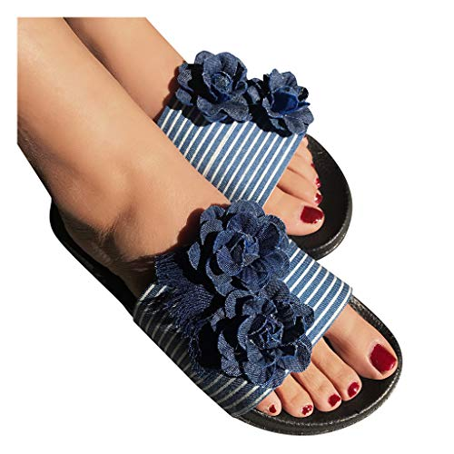 haoricu Womens Bohemian Denim Flowers Flats Summer Casual Party Dress...