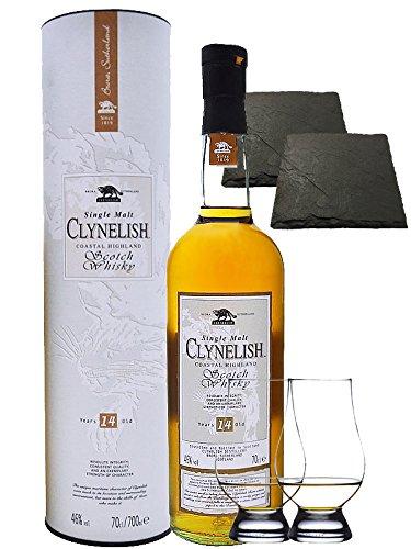Clynelish 14 Jahre Single Malt Whisky 0,7 Liter + 2 Glencairn Gläser und 2 Schiefer Glasuntersetzer 9,5 cm