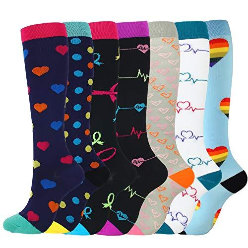 7 pares de calcetines de compresión mixtos de nylon multicolor transpirable running medias señoras calcetines