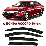 Tape-On Dark Tinted Side Window Visor Deflectors Vent Rain Guards Compatible with Honda Accord 2018 - 2021 Sedan 10th Gen LX EX-L Sport Touring 2019 2020