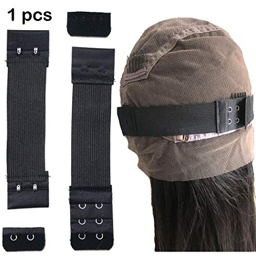 BLUPLE Hair Adjustable Black Elastic Band with Hooks For Wigs Lace Closures Lace Frontal Sewing Band 1.5 inch width 8 inch Length (Elastic Band,1pcs)