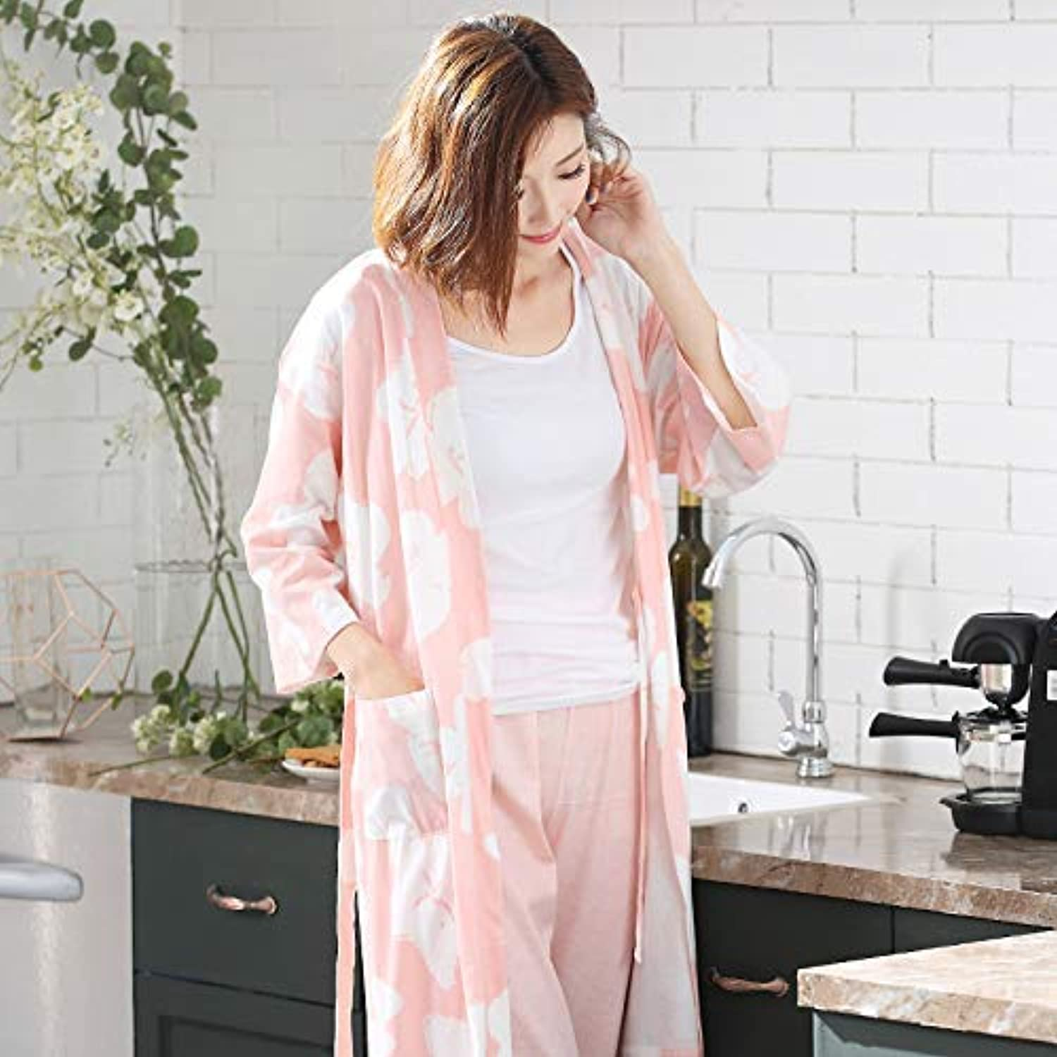 Cute Pajamas Pajamas Ladies Summer Thin Section SevenPoint Sleeve Trousers Modal Home Service Spring and Autumn Long Paragraph Robe Suit (color   Pink, Size   XXXL) Sexy Sleepwear
