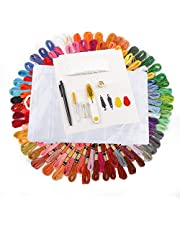 100 Skeins Embroidery Thread Including Floss and Needle Organizer, 100 Pieces Floss Bobbins, Cross Stitch Tool Kit and Marker Pen