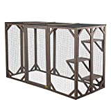 """BWM.Co 71.5""""L Large Rustic Wooden Outdoor Cat Pet Enclosure Cage Catio for Play, Lockable Flat Top Cat Activity Kennel Playhouse with 3 Platforms, Grey"""